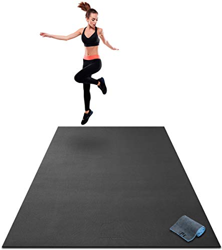 """Premium Extra Large Exercise Mat - 7' x 5' x 1/4"""" Ultra Durable, Non-Slip, Workout Mats for Home Gym Flooring - Jump, Cardio, MMA Mat - Use with or Without Shoes (84"""" Long x 60"""" Wide x 6mm Thick)"""