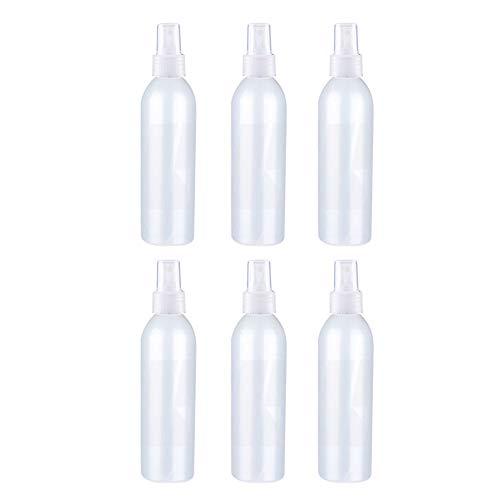 TININNA 6Pcs Bote Spray Botella de Aerosol Vacío Plástico Niebla Fina Atomizador de Viaje Conjunto de Botellas (250 ML),Translúcido