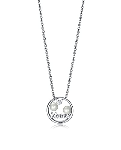 Cadena y Colgante Mujer Mamá Plata Perlas Circonita Tamaño 10 mm Medida 40/45 cm