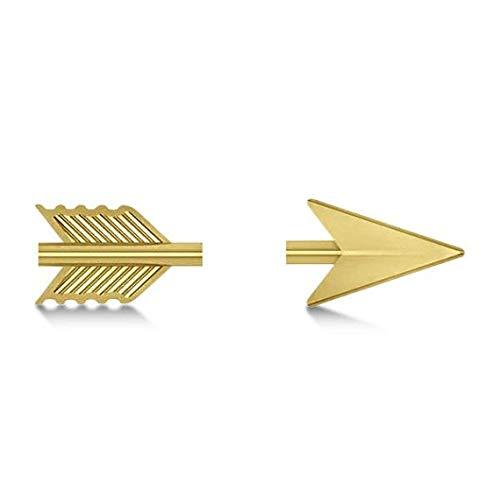 Flecha de tiroteo de las mujeres Stud Pendientes 14K Pendientes de oro amarillo, Stud Pendientes, regalo para ella