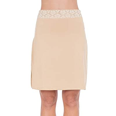 MANCYFIT Half Slips for Women Underskirt Short Mini Skirt with Floral Lace Waistband Light Brown XXX-Large
