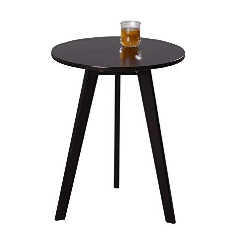 Acyoung Beistelltisch Satztisch rund, Moderne Sofatische, minimalistisch, skandinavischer Stil, Couchtische mit Beinen aus Massivholz, Balkon (Schwarz,S)
