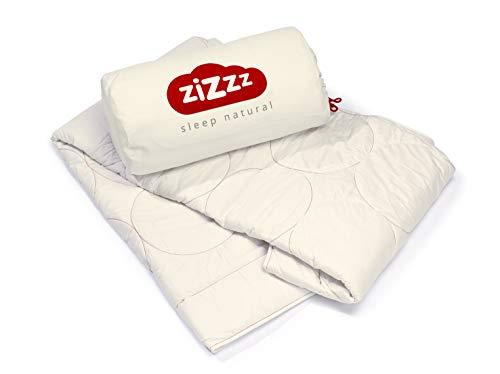 zizzz 4 Jahreszeiten Bettdecke 155x220 cm - Atmungsaktiv & unglaublich weich - Natur Decke mit Swisswool Füllung (290g/m2) - Hochwertiges Duvet für das ganze Jahr