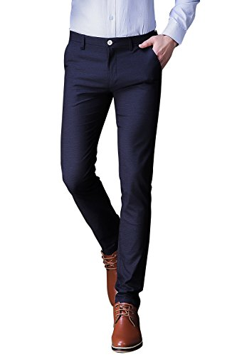Taliare Men's Slim Fit Stretch Fabric Casual Wear Suit Pant Navy Blue, 34