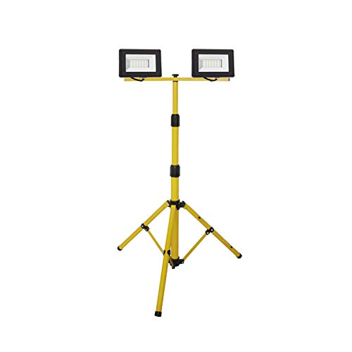 LEDKIA LIGHTING Pack Trípode con 2 Foco Proyectores LED Solid 2x30 W