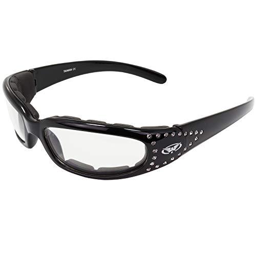 Marilyn 3 Women's Foam Padded Sunglasses, Motorcycle Atv Sports Eyewear Clear Lenses