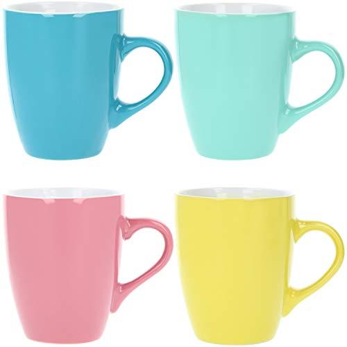 com-four® 4x Kaffeebecher aus Keramik - Kaffee-Tasse in verschiedenen Farben - Kaffeepott für Kalt- und Heißgetränke - 340 ml (04 Stück - bunt)