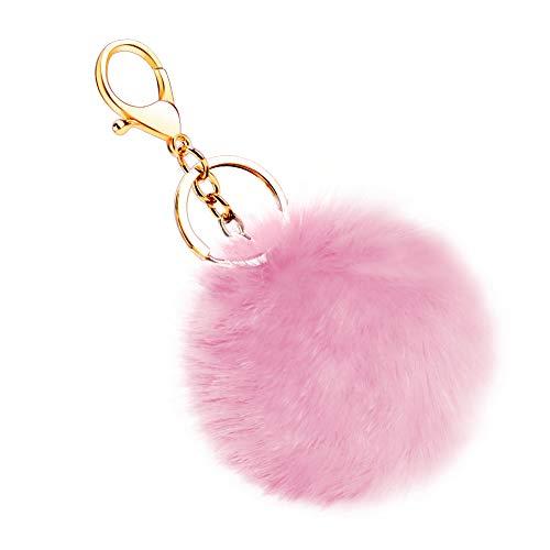 Soleebee Künstliche Kaninchenfell Keychain Flauschigen Ball Pom Pom Schlüsselanhänger Taschen Koffer Rucksäcke Zubehör Charm Auto Schlüsselanhänger Schlüsselring für Frauen Mädchen (Rosa)