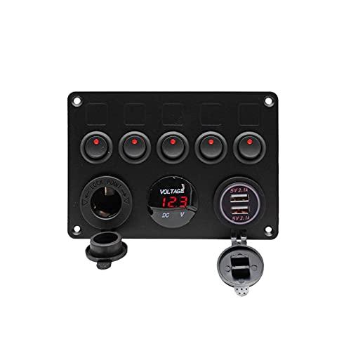 POHOVE 5 Gang Rocker 12V 24V LED Indicador encendido apagado camión doble puerto USB interruptor panel con disyuntores para RV coche barco camión remolque (rojo)