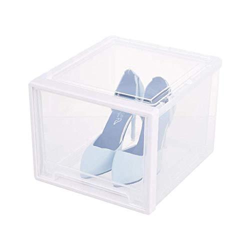 Accesorios de la vida Caja de zapatos Almacenamiento apilable Organizador de estantería transparente de plástico Prueba de polvo de estantería transparente con cajón entrelazado Zapato ligero. leilims