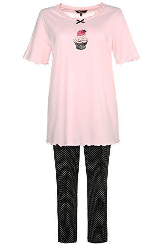 Ulla Popken Große Größen Damen Zweiteiliger Schlafanzug Pyjama, Cupcake, Pink (Rose 56), 48 (Herstellergröße: 46+)
