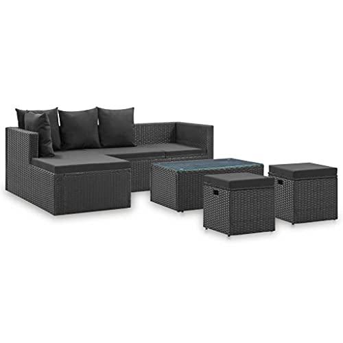 vidaXL Gartenmöbel 4-TLG. mit Auflagen Lounge Sofa Sitzgruppe Garten Garnitur Gartensofa Gartenset Ecksofa Fußhocker Schwarz Poly Rattan