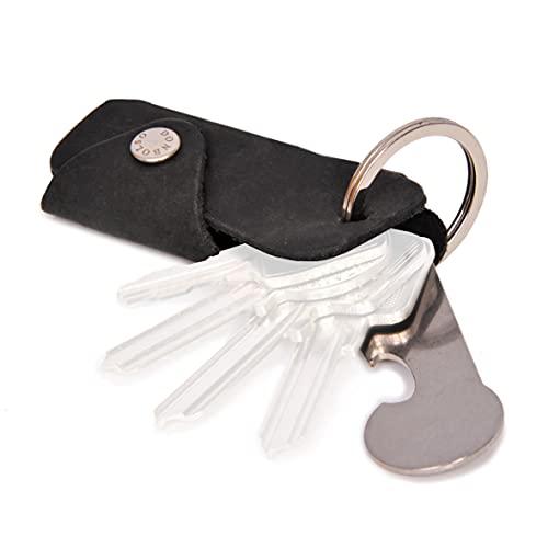 DONBOLSO® Colt | Portachiavi con liberacarrello | Astuccio in cuoio per 1-6 chiavi | Anello portachiavi | Nero