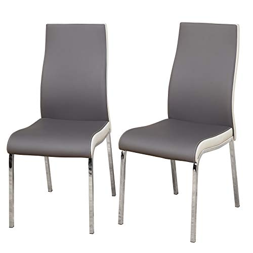 TMS Nora Chrome Plated and Faux Leather Retro Dining, Set of 2 Chairs, Gray/White, Gray/White