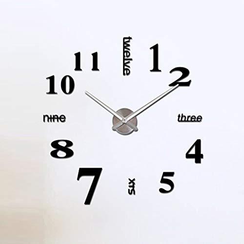Yppss Mute Reloj de Pared sin Marco de Bricolaje Grandes números Reloj de Pared 3D Cartas Etiqueta Reloj de Pared Relojes, 80cm Eternal (Color : Black)