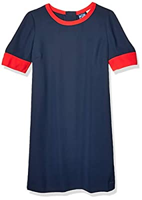 Tommy Hilfiger Women's Adaptive Colorblock Dress Magnetic Closure at Shoulders, Navy/Multi, Large