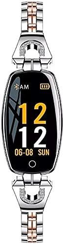 Mujer s Deportes Pulsera Inteligente Reloj Monitor de Sueño IP67 Impermeable Reloj Electrónico Reloj Inteligente Llamada Bluetooth Pulsera Deportiva Negro-Plata