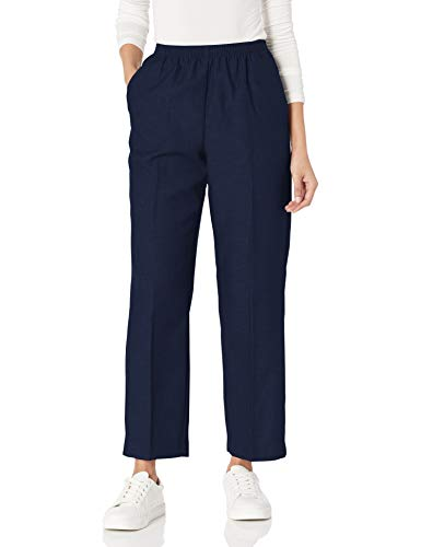 Alfred Dunner Women's Poly Proportioned Medium Pant, Navy, 18 Petite