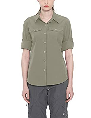Little Donkey Andy Women's Stretch Quick Dry Water Resistant Outdoor Shirts UPF50+ for Hiking, Travel, Camping Sage Size L