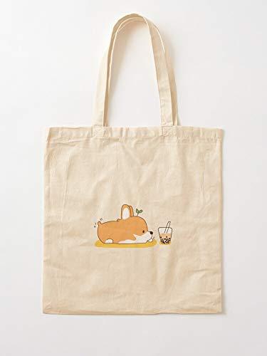Bubble Tea Asian Food Shino Christmas Dog Asia Gifts For Teens |Canvas Grocery Bags Einkaufstaschen mit Griffen Robuste Einkaufstaschen aus Baumwolle