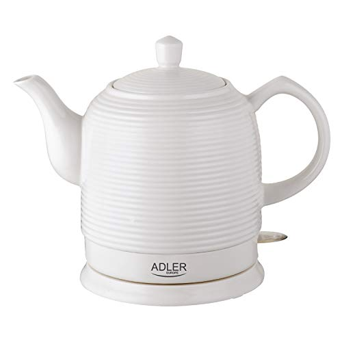 Adler AD1280 Elektrischer Wasserkocher aus Keramik, 1,20 l, 1500 W, Weiß