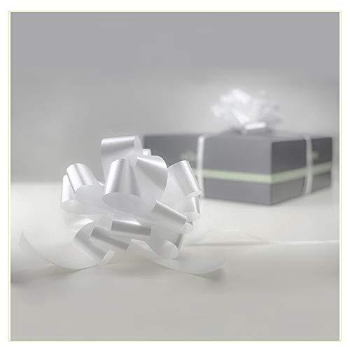 Palucart - 100 lazos de 50 mm, automáticos, color blanco, para bodas, coches, espejos, bodas, bautizos, comuniones