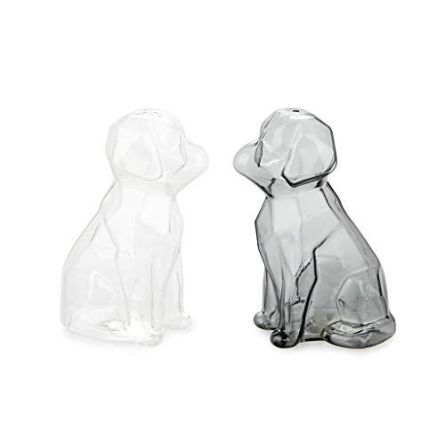 balvi Salz- und Pfeffer-Set Sphinx Farbe Transparent und Grau Salz- und Pfefferstreuer in Form eines Hundes Borosilikatglas 11,5 x 6 x 7 cm