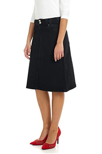 ESTEEZ Women's Denim Skirt – A Line Jean - Below Knee Sydney Black 12