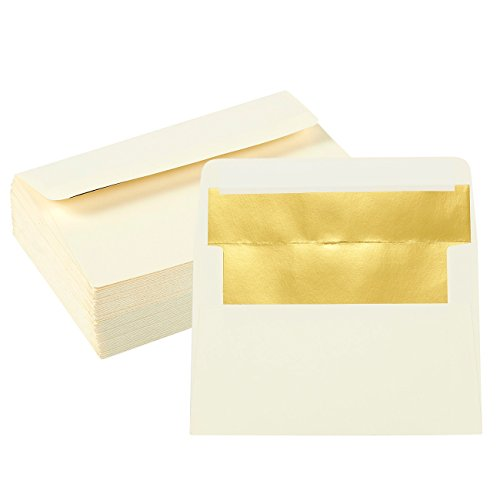 50-Pack A4 Envelopes - 4.25 x 6.25 Inches Square Flap Envelopes - Photo Envelopes - Invitation Envelopes for Wedding Invitations - 120gsm, Ivory Outside, Gold Inside