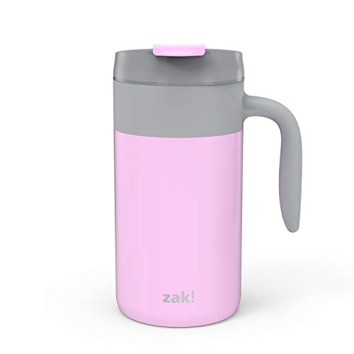 Zak Designs Aberdeen Stainless Steel Double Wall Vacuum Insulated Mug with Handle and Leak Proof Flip Top, Ergonomic Handle Coffee Mug with Screw on Lid is Easy to Clean (20oz, Pink, 18/8, BPA Free)