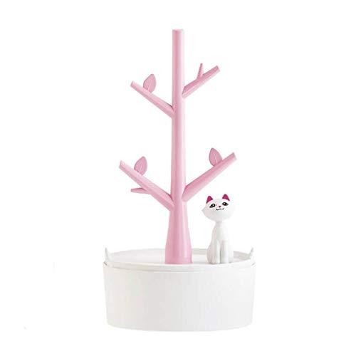 Chowcencen Organizador de Joyas con diseño de árbol de Dibujos Animados y Gatos, para niñas