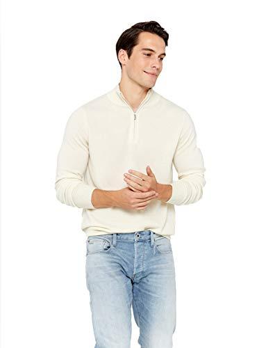 State Cashmere Pullover aus 100 reinem Kaschmir mit halblangen Reissverschluss & Kragen fur Herren, XL, Weiß