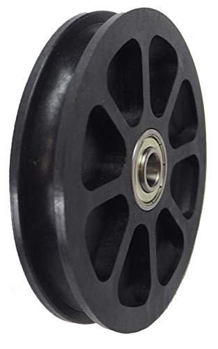 Seilrolle, Durchmesser Ø 100 mm, für Seile bis zu Ø 9 mm mit doppeltem Kugellager mit Distanzring - Made in Germany