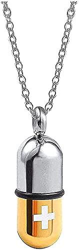 NC66 Collar de Cenizas Joyería de Hueso de Perro Colgante conmemorativo Collar de Acero Inoxidable Gris Cápsula de píldora de Acero de Titanio Colgante de Caja de Botella de Perfume extraíble Oro
