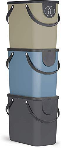 Rotho Albula 3er-Set Mülltrennungssystem 25l für die Küche, Kunststoff (PP) BPA-frei, anthrazit/blau/cappuccino, 3 x 25l (40,0 x 23,5 x 34,0 cm)