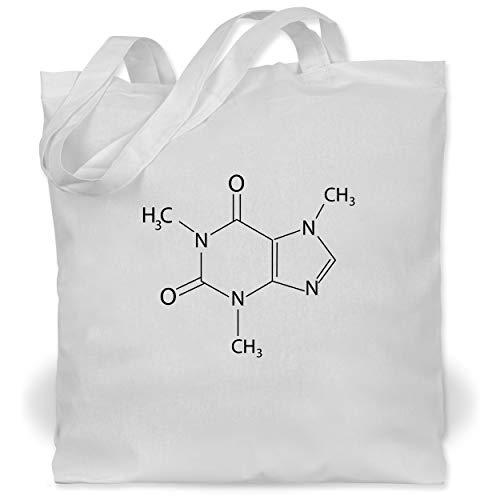 Shirtracer Nerds & Geeks - Kaffee chemische Formel - Unisize - Weiß - jutebeutel kaffee - WM101 - Stoffbeutel aus Baumwolle Jutebeutel lange Henkel