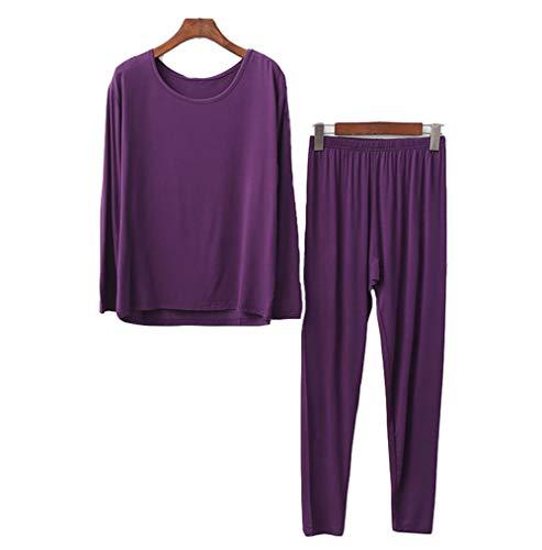 Pijama Sets otoño Invierno Mujer Modal Mangas Larga Pantalon Largo 2 Piezas Talla Grande (6#,2XL (Asia Size 4XL))