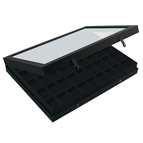 SAFE 5677 Sammel Vitrine Black Edition mit Echtglasabdeckung | mattschwarzen Leinenstruktur-Oberfläche | Setzkasten für bis zu 45 Stk. Legofiguren, Mineralien oder Schmuck | 40 x 30 x 5,5 cm