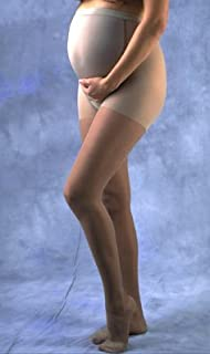 GABRIALLA Firm Graduated Maternity Medical Sheer Compression Pantyhose Pregnancy Support Stockings. Made in USA. Treats Painful Varicose Veins, Blood Clots. (23-30 mmHg), Medium | Nude