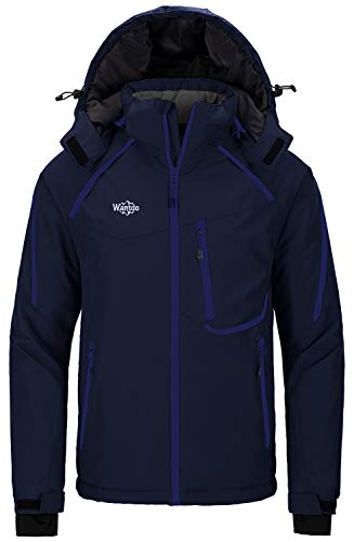 Wantdo Mens Snow Jacket Waterproof Ski Jackets Winter Hooded Outwear Navy L