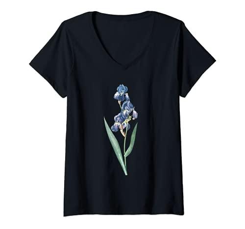 Mujer Pierre Joseph Redoute Tennessee Lirios Pintura Jardinero de flores Camiseta Cuello V