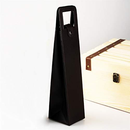 MNSYD Bolsa de cuero exclusiva para vino con asas, elegante botella de vino, bolsa de embalaje clásica para botellas de vino, regalo para viajes en casa y picnic, color negro
