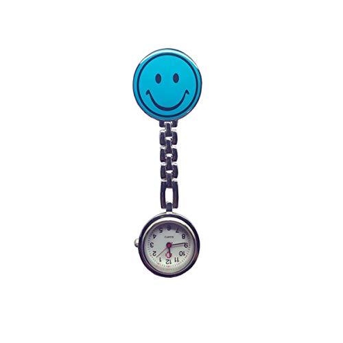 EXQUILEG Rund Lächeln Emoticon Taschenuhr,Krankenschwester Uhr mit Klipp-Brosche Damen Herren Pflegeruhr (Hellblau)