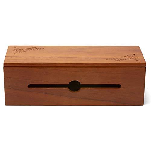Baalaa Caja de gestión de cables de madera Caja organizadora para cable de extensión, raya, protector de sobretensiones de alambre, marrón claro