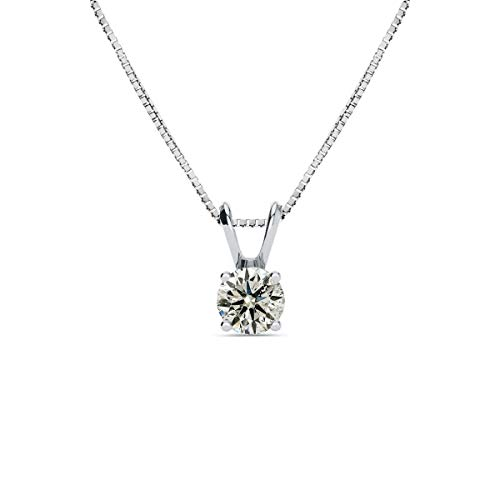 Diamond Pendant Necklace For Women 1/2 Carat Diamond Soltiaire Necklace In 14 Karat White Gold, AGS Certified, Comes With Free Chain
