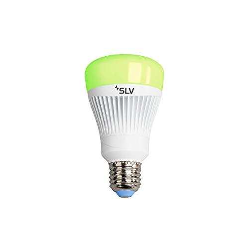 SLV PLAY Smart LED-Lampe WLAN, Mehrfarbige Dimmbare LED Glüh-Birne E27, 16 Mio Farben (RGBW), 11,5W ersetzt 60 Watt, ohne Hub nutzbar, Wifi, Kompatibel mit Alexa und Google Home, 806 Lumen