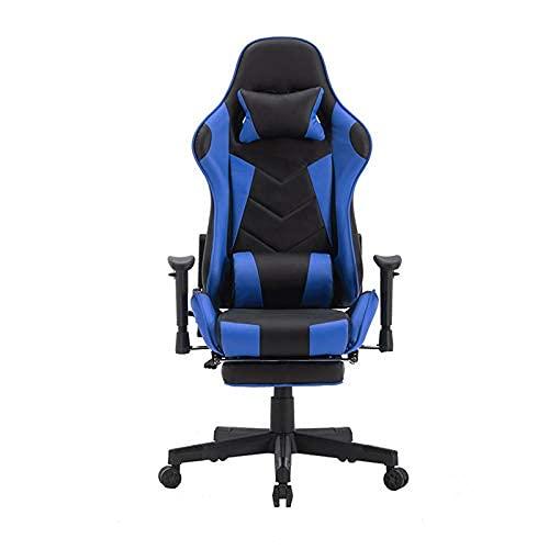 HaoLi Gaming Stuhl, Verstellbarer Racing Style Büro Computer Stuhl Ergonomischer PU Leder Esports Stuhl mit Lendenkissen Kopfstütze Armlehne Fußstütze
