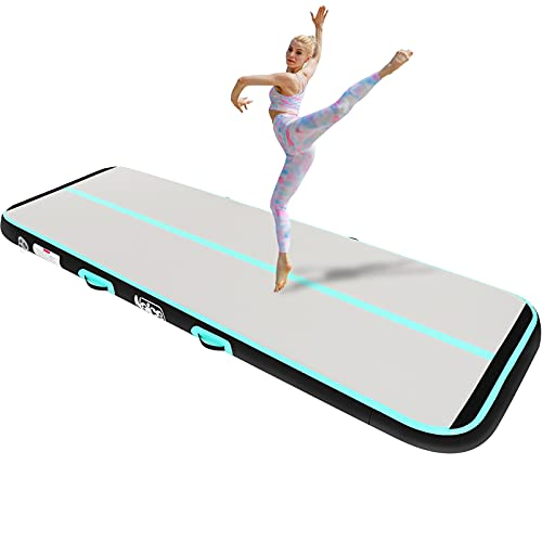 Naice Inflatable Air Gymnastics Mat, Training Tumbling Mat,10 Feet Tumble Tracks Air Training Mats with Electric Air Pump for Indoor/Gym/Outdoor/Yoga/Water/School Use