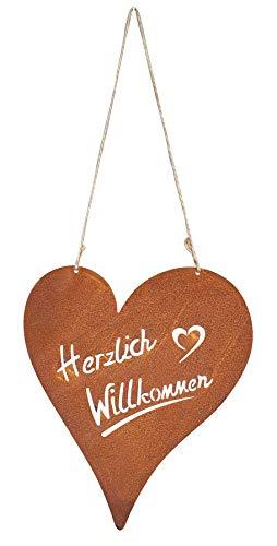 levandeo Schild Willkommen Herz 15x15cm Garten-Deko Türschild Edelrost Wandbild Gartenschild Rostdeko