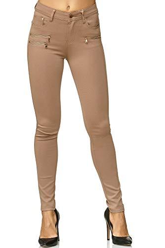 Elara Damen Stretch Hose Skinny Fit Jegging Chunkyrayan H86-2 Dk.Beige 40 (L)